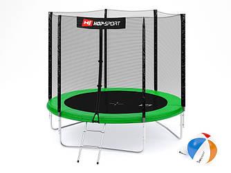 Батут Hop-Sport 8ft (244cm) green з зовнішньої сіткою для будинку і спортзалу