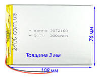 Аккумулятор (по размерам 3*76*108 мм) для планшета 3000 мАч 3072108 3,7 в универсальный  3.7v (3000 mAh), фото 1
