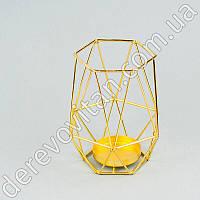 """Металлический подсвечник """"Геометрия"""", желтое золото, 10×15 см"""