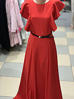 Нарядне червоне плаття довге - максі з крилишками. Туреччина.