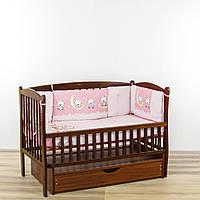Бортики подушки в кроватку новорожденного мишки на луне розового цвета