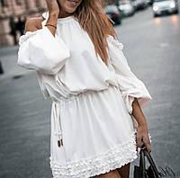 Летнее платье из софта с рюшей, приталенное резинкой, открытыми плечами, вырез овальный, рукав длинный(42-46)
