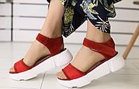 Женские босоножки на платформе, материал - натуральная замша, FS-8302. Красные
