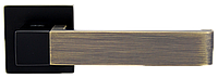 Siba дверная ручка на квадратной розетке Rondo, черная\,бронза античная