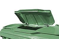 Пластиковый контейнер 1100 л с плоской крышкой в крышке