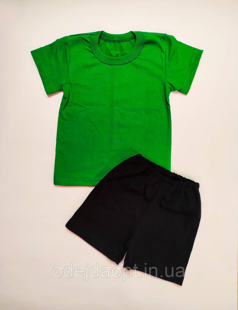 Детский  комплект зеленая футболка и черные шорты
