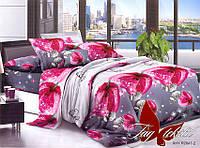 Семейный комплект постельного белья из полисатина с цветами