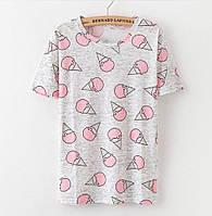 """Интересные женские футболки с принтами """"мороженное"""" и """"совы"""""""