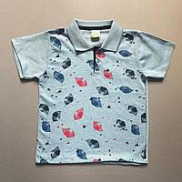 Детская футболка поло для мальчика р.128/134 (8-9 лет) с воротничком голубая
