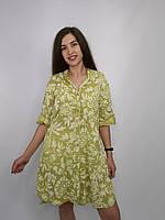 Короткое платье-рубашка салатового цвета с цветочным принтом и регулировкой высоты рукава. Италия.100% хлопок