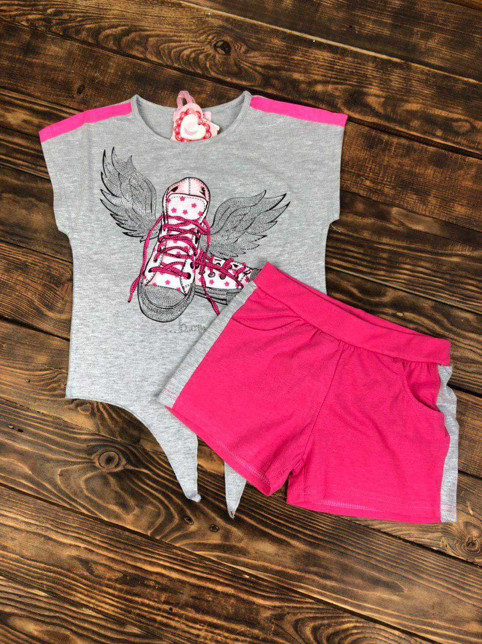 Комплект двойка трикотажный, футболка шорты