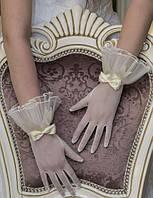 Свадебные перчатки с пальцами оптом (П-п-18)
