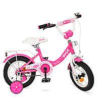 Велосипед 2-х колесный Princess, малиновый, звонок, доп.колеса