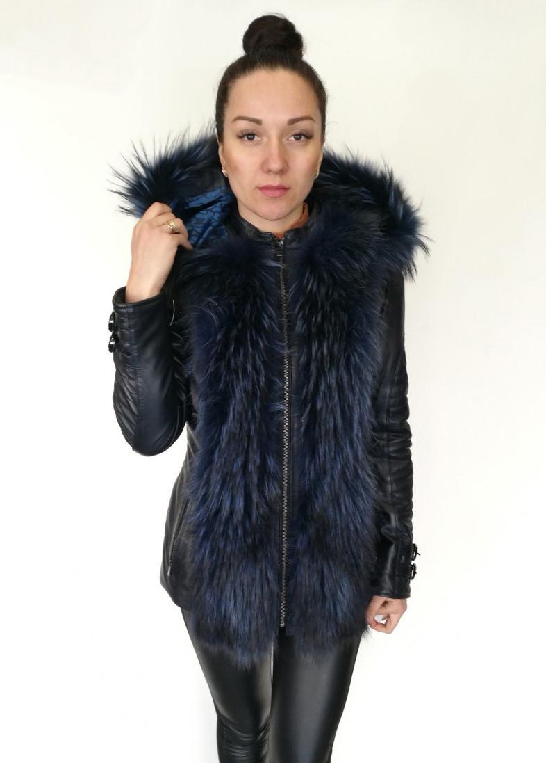 Кожаная куртка Oscar Fur 387т Темно-Синий