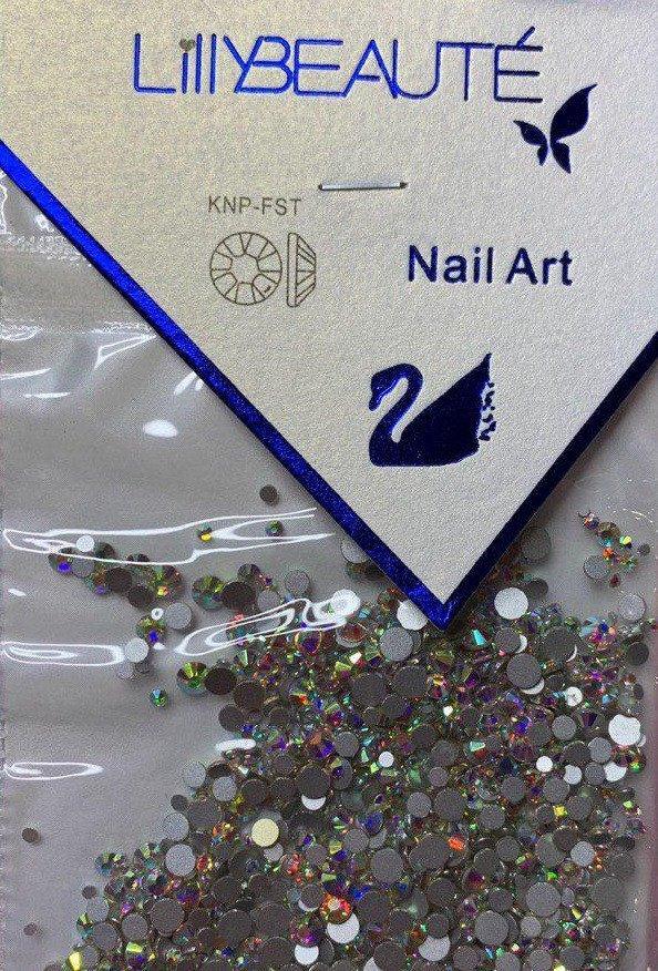 Стразы для ногтей (стекло) Crystal AB хамелеон mix size (1440 шт.)