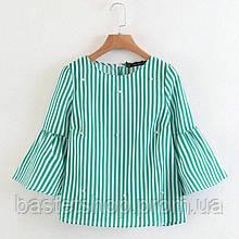 Женская блуза в полоску с жемчужинами зелёного цвета