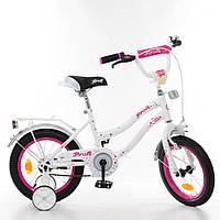Велосипед двухколесный Star,бело-малинов.,звонок,доп.колеса