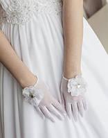 Свадебные перчатки с пальцами опт (П-п-20)