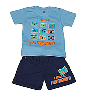 Детский легкий летний костюм (футболка с шортами для мальчика) синий (с рисунком фоттоапарат ) Габби