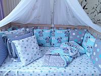 """Комплект в кроватку """"Мишки на голубом"""" 15 предметов"""