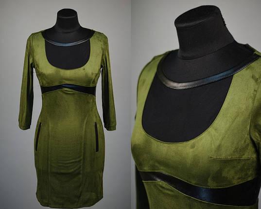 """Стильное женское платье со вставками из эко кожи ткань """"Эко замши"""" 42 размеры норма, фото 2"""