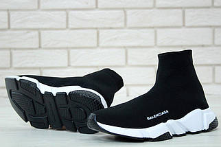 Женские и мужские кроссовки Balenciaga Speed Trainer Sock Black/White, фото 3