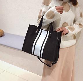 Модная тканевая сумка со вставками