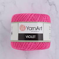 Пряжа YarnArt Violet 5001 яркий розовый (ЯрнАрт Виолет) 100% мерсеризованный хлопок