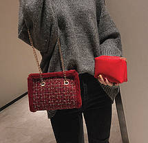 Твидовая вязанная Fashion сумка сундучок, фото 3