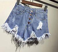 Модные женские джинсовые шорты  с завышенной талией