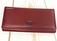 Бордовый женский кошелек из натуральной кожи. Женское кожаное портмоне оригинал. ДК1
