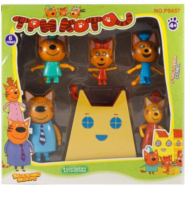 Набор 5 фигурок Три кота: Коржик, Карамелька, Компот, Папа и Мама + домик PS657