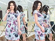Женское батальное платье из софта с поясом , фото 2