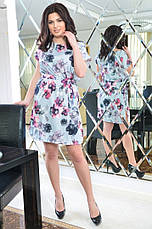 Женское батальное платье из софта с поясом , фото 3
