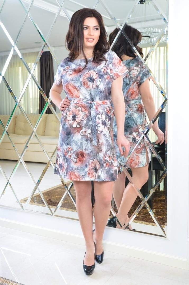 Женское батальное платье из софта с поясом