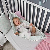 Детский гамак тканевый, размер 70*100см 0-2 года, люлька качель подвесная детская с помпонами