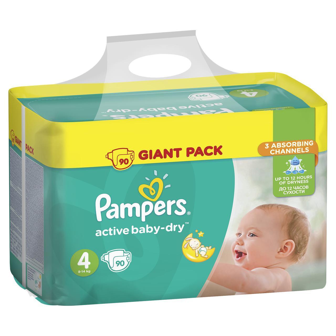 Подгузники Active Baby-Dry Размер 4 (Maxi) 8-14 кг, 90 шт