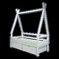 """Детская Кроватка Домик LNK Company """"Эскимос"""" с ящиками 120x60 Белый"""