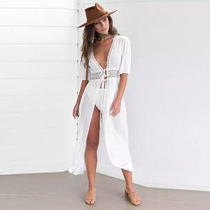 Женская легкая платье, пляжная туника, белый цвет М, L