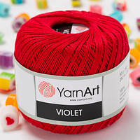 Пряжа YarnArt Violet 6328 красный (ЯрнАрт Виолет) 100% мерсеризованный хлопок