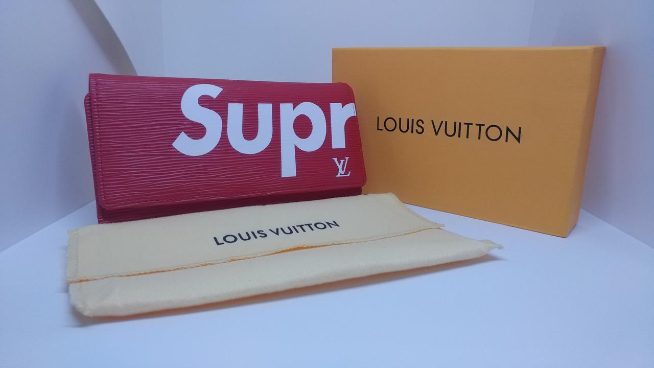b8da779e72fa2 Клатч Портмоне LouiS Vuitton Supreme на Кнопке Унисекс (Красный) — в ...
