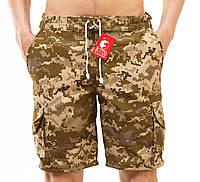 Шорты мужские камуфляжные YSTB пиксель с накладными карманами, резинка (цифра, милитари, короткие, модные), фото 1