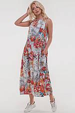 Летнее платье балахон белого с оранжевым цвета  размер 44-52 (5 расцветок) (влн)