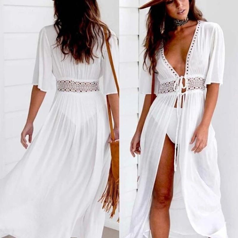 Женская легкая платье туника, белый цвет