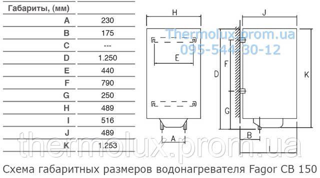 Схема габаритных размеров водонагревателя Fagor CB-150i