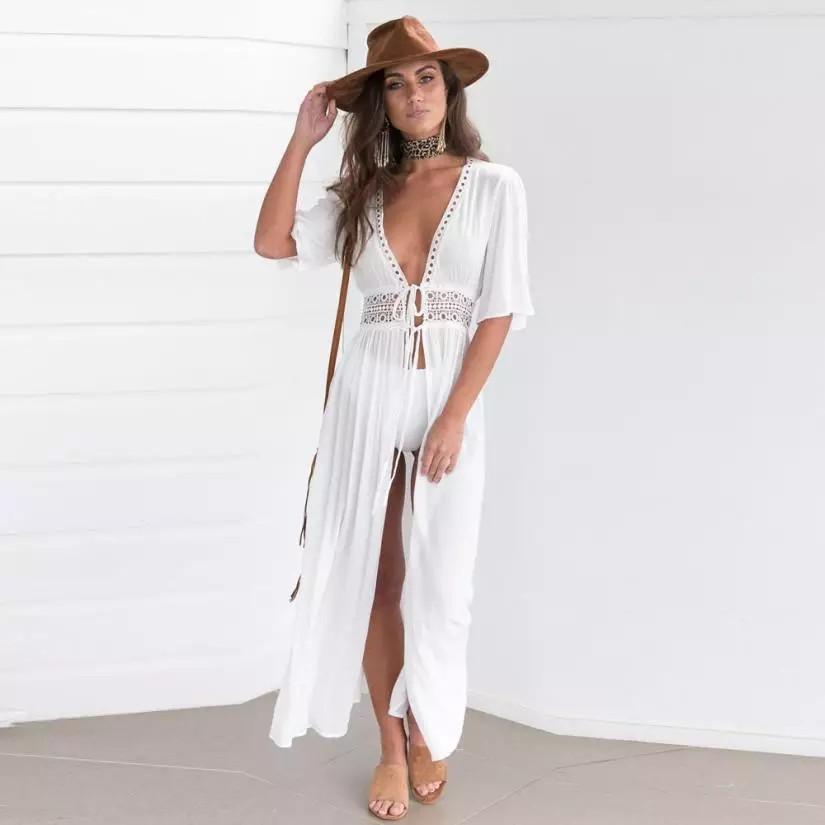 Жіноча легка сукня, пляжна туніка, біла