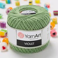 Пряжа YarnArt Violet 6369 оливковый (ЯрнАрт Виолет) 100% мерсеризованный хлопок