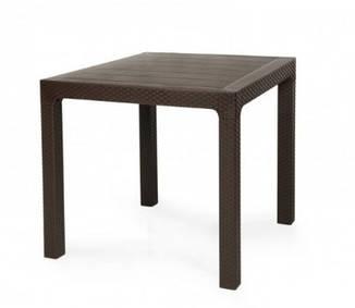 Стол пластик Лагуна коричневый от SDM Group 80*80, искусственный ротанг