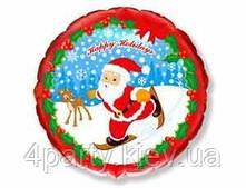 Шарик фольга Новый год Санта на лыжах 1202-0905