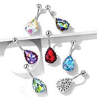 Серьга для пирсинга пупка Spikes «Алмазная» - разные цвета